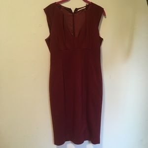 T Tahari Burgundy Sheath Dress 6